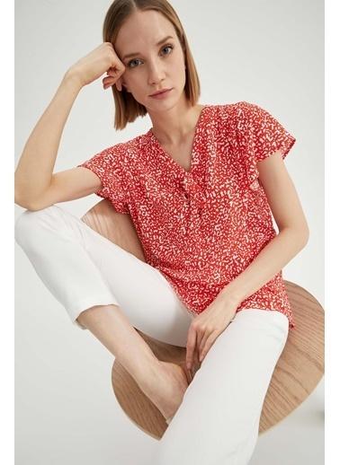 DeFacto Yaka Bağlama Detaylı Bluz Kırmızı